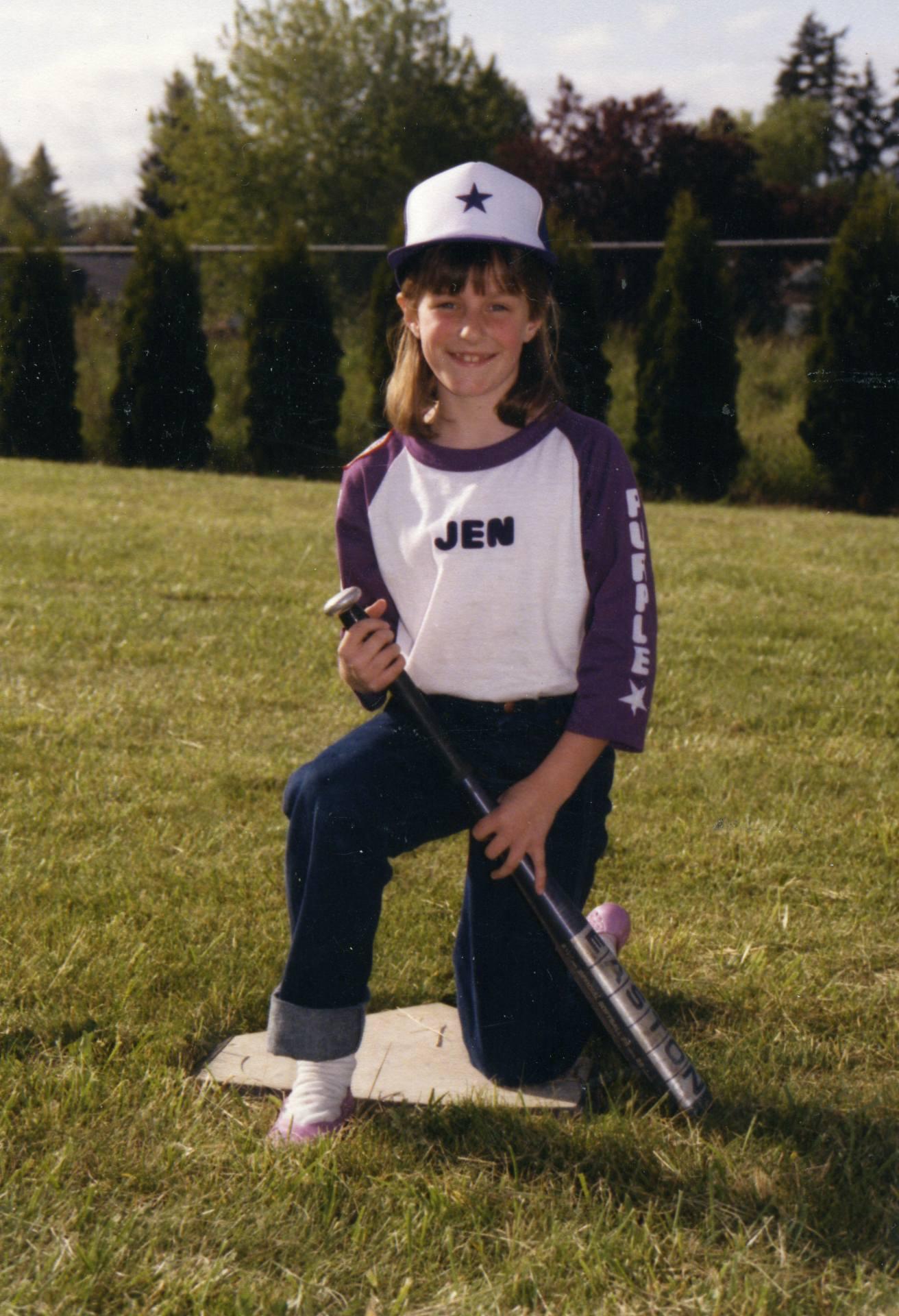 Little Jen in t-ball uniform.